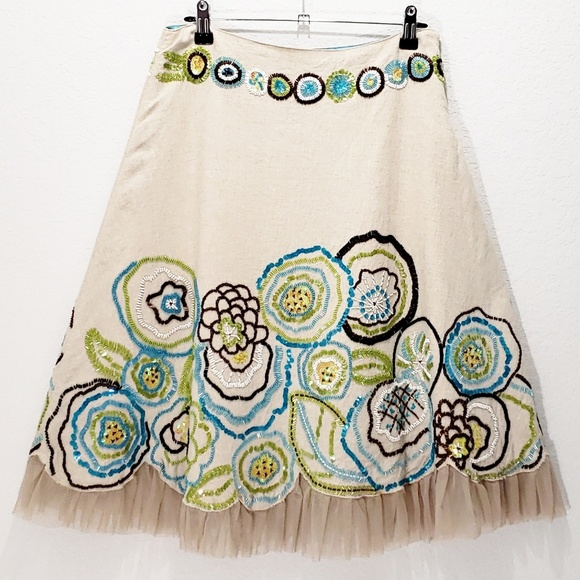 55033c1e66d51 Anthropologie Skirts | Beaded Linen Skirt Basil Maude S 2 | Poshmark